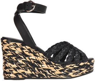 Prada Woven Wedged Sandals