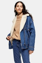 Topshop Womens Oversized Borg Lined Biker Denim Jacket - Mid Blue