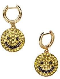 BaubleBar Smiles Gold-Tone Yellow & White Pave Happy Face Drop Earrings