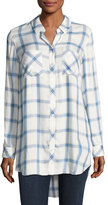 Go Silk Long-Sleeve Button-Front Plaid Shirt, Blue/White, Plus Size