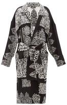 Edward Crutchley Lace-effect Jacquard Longline Wool Cardigan - Womens - Black White