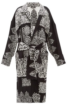 Edward Crutchley Lace Effect Jacquard Longline Wool Cardigan - Womens - Black White