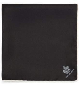 Dolce & Gabbana Crown-jacquard Silk-faille Pocket Square - Mens - Black