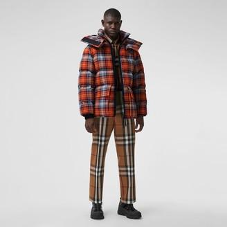 Burberry Detachabe Hood Check Cotton Fanne Puffer Jacket