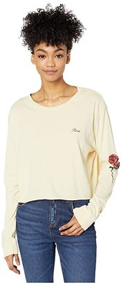 RVCA Thorns Long Sleeve Boyfriend Top (Oatmeal) Women's Clothing