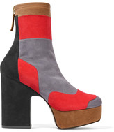 Pierre Hardy Ziggy Patchwork Stretch-suede Platform Ankle Boots - Gray
