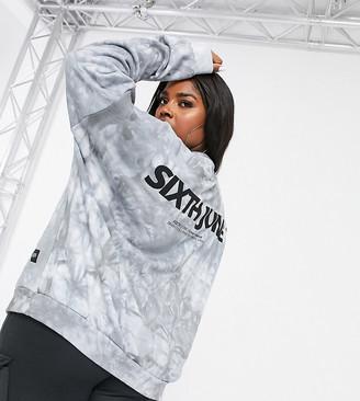 Sixth June Plus oversized sweatshirt in tie-dye with logo back co-ord