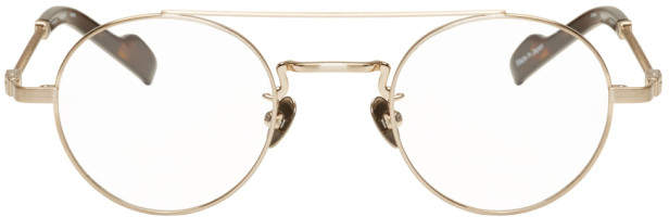 Yohji Yamamoto Gold and Tortoiseshell Braided Round Glasses