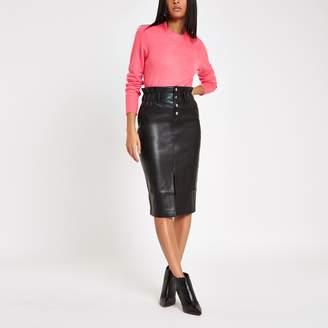River Island Womens Black button front high waist pencil skirt