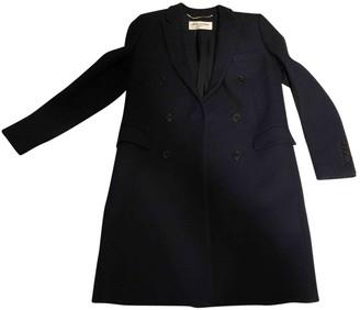 Saint Laurent Navy Wool Coat for Women