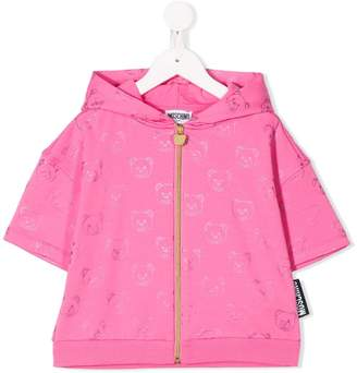 MOSCHINO BAMBINO TEEN teddy print zipped hoodie