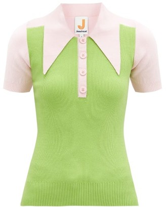 JoosTricot Panelled Cotton-blend Peachskin Polo Shirt - Green Multi