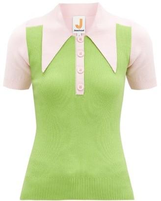 JoosTricot Panelled Cotton-blend Peachskin Polo Shirt - Green Multi