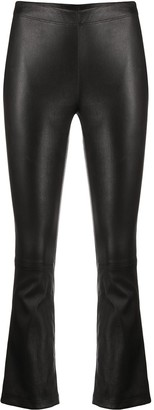 Inès & Marèchal Flared Cropped Leather Leggings