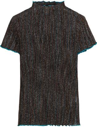 M Missoni Pleated Metallic Crochet-knit Top