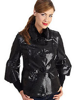 Rachel Zoe Luxe Faux Python and Faux Fur Jacket with Lantern Sleeves