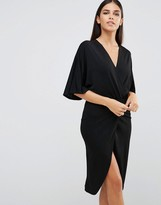Club L Wrap Front Crepe Kimono Detail Dress