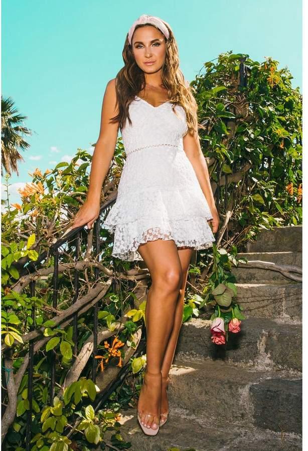 Quiz Sam Faiers White Floral Frill Dress