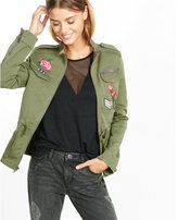Express embroidered four pocket military parka