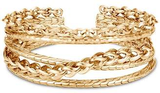 John Hardy 18K Yellow Gold Classic Chain Link Hammered Flex Cuff