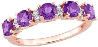 18K Rose Gold Plated 1.55 cttw Amethyst & White Topaz Ring