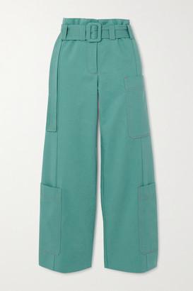 Stine Goya Roman Belted Organic Cotton-twill Straight-leg Pants - Light blue