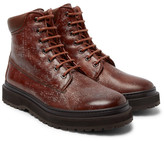 Brunello Cucinelli Shearling-lined Distressed Leather Boots - Brown