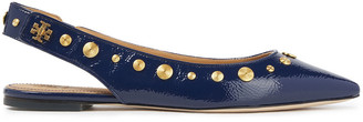 Tory Burch Studded Crinkled Patent-leather Point-toe Flats