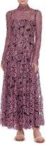 Valentino Long-Sleeve Mock-Neck Lace Maxi Dress