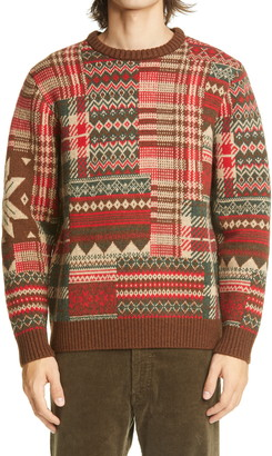 Beams Patchwork Jacquard Wool Blend Sweater
