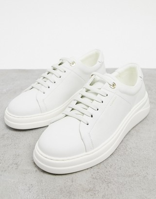 Fiorelli anouk leather lace-up sneakers in cream