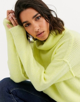 Asos DESIGN fluffy sweater with cowl neck in recycled blend