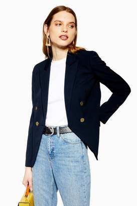 Topshop Navy Gold Button Blazer