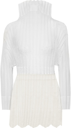Stella McCartney Jacqueline Embroidered Plisse Cotton-blend Voile And Tulle Top