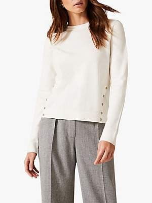 Phase Eight Bella Button Knit Jumper, Ivory