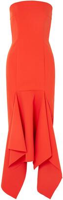 SOLACE London Veronique Strapless Crepe Midi Dress