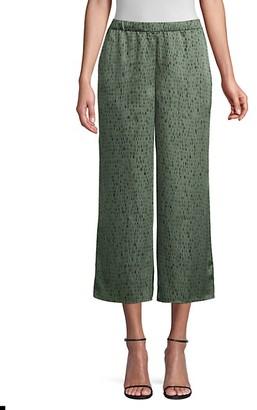 Eileen Fisher Silk Organic Cotton Wide-Leg Jacquard Trousers