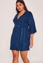 Missguided Blue Plus Size Faux Suede Kimono Dress