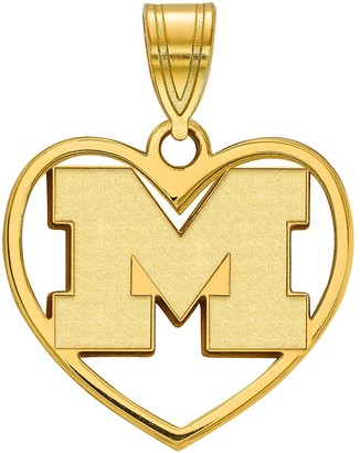 LogoArt 14K Gold Plated Michigan Wolverines Pendant in Heart