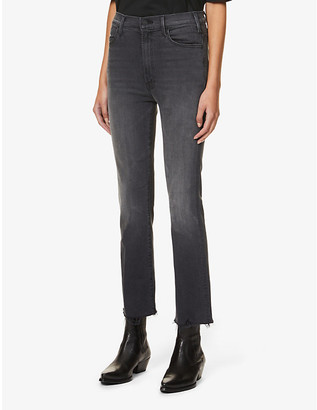 Mother Hustler Ankle Fray slim-leg high-rise stretch-denim jeans