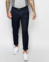 Asos Skinny Suit Trousers In Subtle Check In Navy
