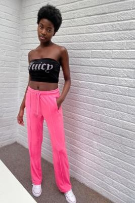 Juicy Couture Juicy Courture Velour Fluorescent Pink Track Pants - Pink XS at Urban Outfitters