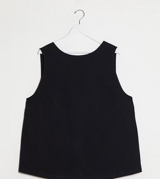 Asos DESIGN Curve super oversized singlet with open back in black
