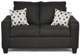 """Ivy Bronx Dorothea 59.5"""" Square Arm Loveseat Upholstery Color: Stoked Black"""