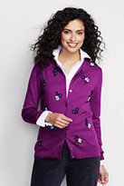 Classic Women's Petite Supima Embroidered Cardigan Sweater-Light Indigo