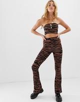 Asos Design DESIGN two-piece flare pants in dark tiger print