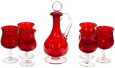 One Kings Lane Vintage 1960s Red Glass Wine Decanter Set - Set of 7 - 2-b-Modern - red/clear