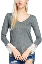 Bellino Charcoal Lace-Cuff V-Neck Tee