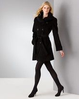 Ellen Tracy Double Breasted Coat with Ruched Collar