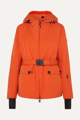 Moncler Resia Belted Hooded Padded Down Ski Jacket - Orange